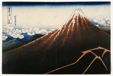 Katsushika Hokusai (Japanese, 1760-1849). <em>Rainstorm beneath the Summit, from the series Thirty-six Views of Mount Fuji</em>, ca. 1832. Color woodblock print on paper, 9 7/8 x 14 5/8 in. (25.1 x 37.1 cm). Brooklyn Museum, Gift of Frederic B. Pratt, 42.76 (Photo: Brooklyn Museum, 42.76_IMLS_SL2.jpg)