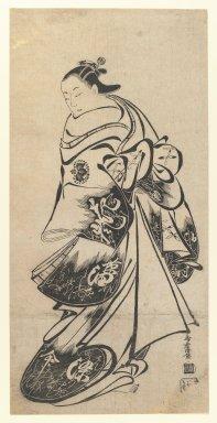 Kiyomasu Torii I (Japanese, active 1704-1718). <em>The Actor Fujimura Handayu as Oiso no Tora</em>, 1708-1712. Woodblock print, Oban tate-e, Sheet: 21 3/4 x 10 11/16 in. (55.2 x 27.1 cm). Brooklyn Museum, Gift of Frederic B. Pratt, 42.82 (Photo: Brooklyn Museum, 42.82_IMLS_PS3.jpg)