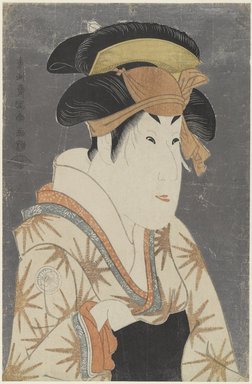 Toshusai Sharaku (Japanese, active 1794-1795). <em>Segawa Kikunojo III as Oshizu, Wife of Tanabe Bunzo</em>, May 1794. Color woodblock print on paper, 14 7/8 x 9 1/4 in. (37.8 x 23.5 cm). Brooklyn Museum, Gift of Frederic B. Pratt, 42.83 (Photo: Brooklyn Museum, 42.83_PS4.jpg)