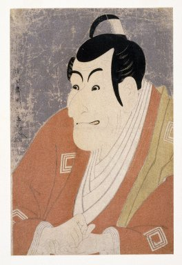 Toshusai Sharaku (Japanese, active 1794-1795). <em>Ichikawa Ebizo IV as Takemura Sadanoshin</em>, 1794/5. Color woodblock print with mica on paper, 14 3/8 x 9 7/16 in. (36.5 x 24 cm). Brooklyn Museum, Gift of Frederic B. Pratt, 42.85 (Photo: Brooklyn Museum, 42.85_IMLS_SL2.jpg)