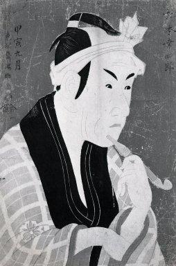 Toshusai Sharaku (Japanese, active 1794-1795). <em>Matsumoto Koshiro IV as Gorobei, the Fishmonger from San-ya</em>, 5/1794. Color woodblock print on paper, 14 5/16 x 9 3/4 in. (36.4 x 24.8 cm). Brooklyn Museum, Gift of Frederic B. Pratt, 42.86 (Photo: Brooklyn Museum, 42.86_bw_IMLS.jpg)
