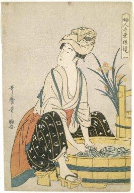 Kitagawa Utamaro (Japanese, 1753-1806). <em>Washing Clothes, from the series Women's Handicrafts: Models of Dexterity</em>, ca. 1797-1798. Color woodblock print on paper, 14 15/16 x 10 5/16 in. (38.0 x 26.1 cm). Brooklyn Museum, Gift of Frederic B. Pratt, 42.88 (Photo: Brooklyn Museum, 42.88_SL1.jpg)