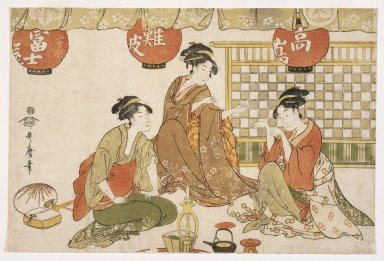 Kitagawa Utamaro (Japanese, 1753-1806). <em>Three Seated Ladies with Lanterns, Tea Pot, Candle Holder and Stringed Instrument</em>, 18th century. Color woodblock print on paper, 10 x 14 15/16 in. (25.4 x 38 cm). Brooklyn Museum, Gift of Frederic B. Pratt, 42.89 (Photo: Brooklyn Museum, 42.89_IMLS_SL2.jpg)