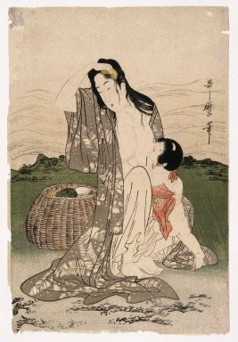Kitagawa Utamaro (Japanese, 1753-1806). <em>Abalone Divers</em>, ca. 1797-1798. Color woodblock print on paper, 14 1/2 x 9 3/4 in. (36.8 x 24.8 cm). Brooklyn Museum, Gift of Frederic B. Pratt, 42.90 (Photo: Brooklyn Museum, 42.90_IMLS_SL2.jpg)