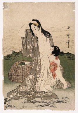Kitagawa Utamaro (Japanese, 1753-1806). <em>Abalone Divers</em>, ca. 1797-1798. Color woodblock print on paper, 14 1/2 x 9 3/4 in. (36.8 x 24.8 cm). Brooklyn Museum, Gift of Frederic B. Pratt, 42.90 (Photo: Brooklyn Museum, 42.90_IMLS_SL2.jpg)