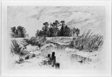 Thomas Moran (American, 1837-1926). <em>Pasture Meadow</em>, 1879. Etching Brooklyn Museum, Gift of J. Oettinger, 43.117.10 (Photo: Brooklyn Museum, 43.117.10_bw.jpg)
