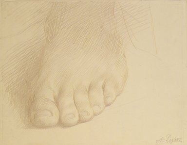 Alphonse Legros (French, 1837-1911). <em>Study of a Foot</em>, n.d. Metal point on heavy wove paper, Sheet: 5 x 6 5/8 in. (12.7 x 16.8 cm). Brooklyn Museum, Gift of J. Oettinger, 43.117.1 (Photo: Brooklyn Museum, 43.117.1_transp1593.jpg)