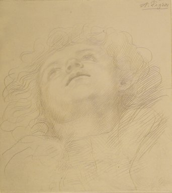 Alphonse Legros (French, 1837-1911). <em>Study for Child's Head</em>, n.d. Metal point on wove paper, Sheet: 7 9/16 x 6 3/4 in. (19.2 x 17.1 cm). Brooklyn Museum, Gift of J. Oettinger, 43.117.2 (Photo: Brooklyn Museum, 43.117.2_transp1594.jpg)