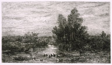Charles-François Daubigny (French, 1817-1878). <em>Fisherman on River with Ducks</em>, 1878. Etching on laid paper, Image: 5 1/4 x 8 1/2 in. (13.3 x 21.6 cm). Brooklyn Museum, Gift of J. Oettinger, 43.117.3 (Photo: Brooklyn Museum, 43.117.3_reference_SL1.jpg)