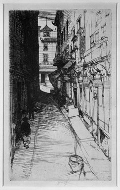 John W. Winkler (American, born Austria, 1890-1979). <em>Dark Alley</em>. Etching and drypoint on paper, 8 11/16 x 5 1/4 in. (22.1 x 13.3 cm). Brooklyn Museum, Gift of J. Oettinger, 43.117.5. © artist or artist's estate (Photo: Brooklyn Museum, 43.117.5_bw.jpg)