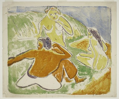 Ernst Ludwig Kirchner (German, 1880-1938). <em>Three Bathers on the Beach</em>, 1909. Color lithograph in red, yellow, green, blue and violet on wove paper, Image: 20 x 23 1/2 in. (50.8 x 59.7 cm). Brooklyn Museum, By exchange, 43.124 (Photo: Brooklyn Museum, 43.124_PS2.jpg)