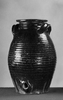 American. <em>Jar or Crock</em>. Earthenware Brooklyn Museum, Gift of Arthur W. Clement, 43.128.122. Creative Commons-BY (Photo: Brooklyn Museum, 43.128.122_acetate_bw.jpg)