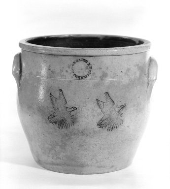 Jacob B. Claire. <em>Jar or crock</em>. Earthenware Brooklyn Museum, Gift of Arthur W. Clement, 43.128.13. Creative Commons-BY (Photo: Brooklyn Museum, 43.128.13_bw.jpg)