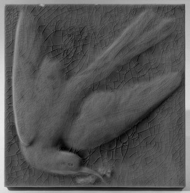 Hugh C. Robertson (American, 1844-1908). <em>Tile</em>, 1879. Glazed earthenware, 6 1/8 x 6 1/8 in. (15.6 x 15.6 cm). Brooklyn Museum, Gift of Arthur W. Clement, 43.128.179 (Photo: Brooklyn Museum, 43.128.179_view2_acetate_bw.jpg)