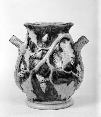 American. <em>Jar</em>, ca. 1860. Stoneware, 9 5/8 x 9 1/2 x 8 in. (24.4 x 24.1 x 20.3 cm). Brooklyn Museum, Gift of Arthur W. Clement, 43.128.181. Creative Commons-BY (Photo: Brooklyn Museum, 43.128.181_bw.jpg)