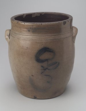 American. <em>Jar</em>, 1842-1843. Stoneware, 12 x 11 5/8 x 10 3/4 in. (30.5 x 29.5 x 27.3 cm). Brooklyn Museum, Gift of Arthur W. Clement, 43.128.182. Creative Commons-BY (Photo: Brooklyn Museum, 43.128.182.jpg)