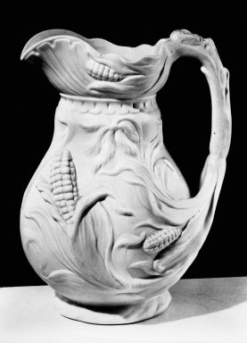 Bennington Pottery and Porcelain Factory. <em>Pitcher</em>, ca. 1850. Parian ware, 9 x 6 in. (22.9 x 15.2 cm). Brooklyn Museum, Gift of Arthur W. Clement, 43.128.189. Creative Commons-BY (Photo: Brooklyn Museum, 43.128.189_bw.jpg)