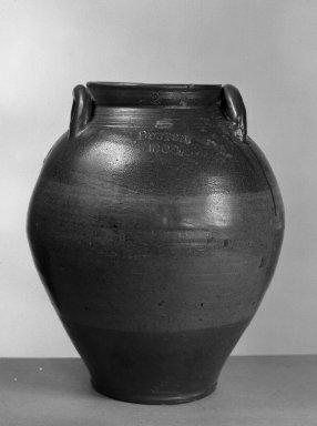 American. <em>Jar</em>, 1804. Glazed stoneware Brooklyn Museum, Gift of Arthur W. Clement, 43.128.193. Creative Commons-BY (Photo: Brooklyn Museum, 43.128.193_acetate_bw.jpg)