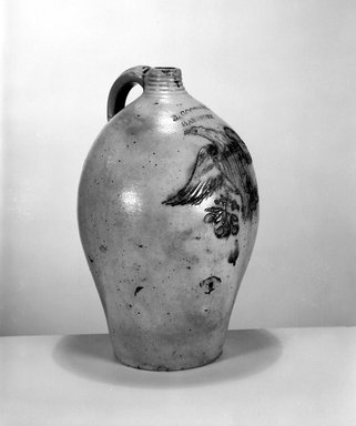 Daniel Goodale. <em>Jug</em>, ca. 1818-1830. Stoneware, 15 x 9 1/2 x 9 1/2 in. (38.1 x 24.1 x 24.1 cm). Brooklyn Museum, Gift of Arthur W. Clement, 43.128.19. Creative Commons-BY (Photo: Brooklyn Museum, 43.128.19_bw.jpg)