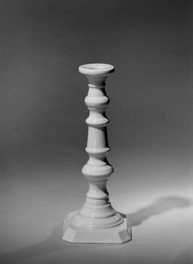 attributed to Charles Cartlidge & Co. (1848-1856). <em>Candlestick</em>, mid-19th century. Porcelain, 9 1/4 x 3 7/8 in. (23.5 x 9.8 cm). Brooklyn Museum, Gift of Arthur W. Clement, 43.128.200. Creative Commons-BY (Photo: Brooklyn Museum, 43.128.200_bw.jpg)