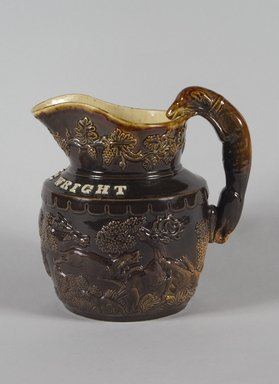 <em>Pitcher</em>, 1845. Earthenware, 8 3/8 in. (21.3 cm). Brooklyn Museum, Gift of Arthur W. Clement, 43.128.36. Creative Commons-BY (Photo: Brooklyn Museum, 43.128.36_PS5.jpg)