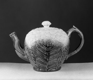 American. <em>Teapot, Majolica, In Shape of Cauliflower</em>. Brooklyn Museum, Gift of Arthur W. Clement, 43.128.49. Creative Commons-BY (Photo: Brooklyn Museum, 43.128.49_acetate_bw.jpg)