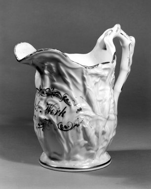 American. <em>Pitcher</em>, ca. 1850. Porcelain, Height: 10 in. (25.4 cm.); Diameter of base: 5 1/4 in. (13.3 cm.). Brooklyn Museum, Gift of Arthur W. Clement, 43.128.53. Creative Commons-BY (Photo: Brooklyn Museum, 43.128.53_bw.jpg)