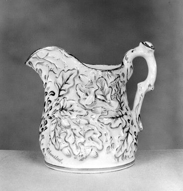 American. <em>Pitcher</em>, ca. 1848-1856. Porcelain, Height: 7 in. (17.8 cm.); Diameter of base: 5 1/4 in. (13.3 cm.). Brooklyn Museum, Gift of Arthur W. Clement, 43.128.55. Creative Commons-BY (Photo: Brooklyn Museum, 43.128.55_bw.jpg)