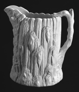 "United States Pottery Company. <em>""Niagara Falls"" Pitcher</em>, ca. 1855. Porcelain, Height: 8 1/4 in. (21 cm). Brooklyn Museum, Gift of Arthur W. Clement, 43.128.56. Creative Commons-BY (Photo: Brooklyn Museum, 43.128.56_bw.jpg)"