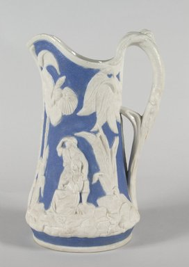 "United States Pottery Company. <em>""Paul and Virginia"" Pitcher</em>, 1852-1858. Parian ware, 9 1/4 in. (23.5 cm). Brooklyn Museum, Gift of Arthur W. Clement, 43.128.59. Creative Commons-BY (Photo: Brooklyn Museum, 43.128.59_PS5.jpg)"