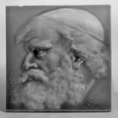 J. & J. G. Low Art Tile Works (1877-1907). <em>Tile</em>, ca. 1881-1883. Earthenware, 6 1/8 x 6 1/8 in. (15.6 x 15.6 cm). Brooklyn Museum, Gift of Arthur W. Clement, 43.128.65 (Photo: Brooklyn Museum, 43.128.65_acetate_bw.jpg)