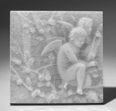 Providential Tile Works. <em>Tile</em>, 1895. Earthenware, 5 5/16 x 5 5/16 in. (13.5 x 13.5 cm). Brooklyn Museum, Gift of Arthur W. Clement, 43.128.67 (Photo: Brooklyn Museum, 43.128.67_acetate_bw.jpg)
