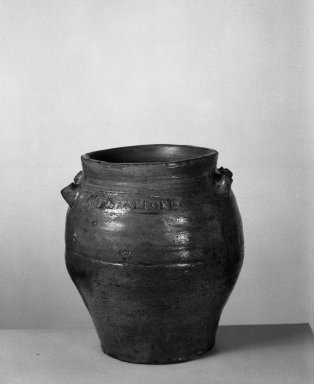 P.P. Sanford. <em>Jar</em>. Glazed stoneware Brooklyn Museum, Gift of Arthur W. Clement, 43.128.7. Creative Commons-BY (Photo: Brooklyn Museum, 43.128.7_side1_acetate_bw.jpg)