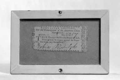 Gousse Bonnin. <em>Lottery Ticket</em>, 1771. printed paper Brooklyn Museum, Gift of Arthur W. Clement, 43.128.99 (Photo: Brooklyn Museum, 43.128.99_bw_SL1.jpg)