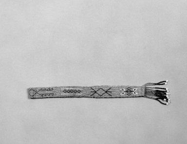 Plains. <em>Headband</em>, 1900-1940. Beads, hide, 20 1/2 x 1 in.  (52.0 x 2.5 cm). Brooklyn Museum, Gift of Mrs. Percy Jackson, 43.156.4. Creative Commons-BY (Photo: Brooklyn Museum, 43.156.4_bw.jpg)