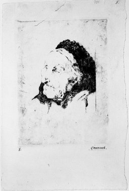 Jean-Paul Laurent ?. <em>Head of Old Woman</em>, 19th century. Drypoint on laid paper, 6 x 4 7/16 in. (15.2 x 11.2 cm). Brooklyn Museum, Anonymous gift, 43.170.18 (Photo: Brooklyn Museum, 43.170.18_bw.jpg)