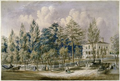 Frances Flora Palmer (American, 1812-1876). <em>Samuel Fleet Homestead</em>, ca. 1850s. Transparent and opaque watercolor over graphite on cream, moderately thick, slightly textured wove paper mounted to Japanese paper., 18 3/8 x 27 1/4 in. (46.7 x 69.2 cm). Brooklyn Museum, Bequest of Clara H. Baxter, 43.171 (Photo: Brooklyn Museum, 43.171_SL1.jpg)
