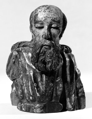 Unknown. <em>Bust of Male Saint; Joseph?</em>. Wood, pigment, 7 x 5 x 4 in. (17.8 x 12.7 x 10.2 cm). Brooklyn Museum, Frank L. Babbott Fund, 43.195.14. Creative Commons-BY (Photo: Brooklyn Museum, 43.195.14_bw.jpg)