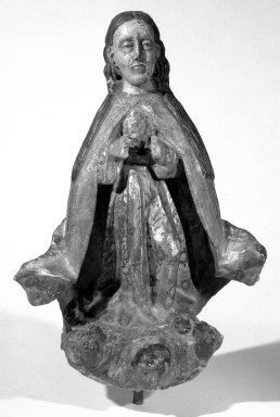 <em>Figure of the Virgin as Queen of Heaven or Queen of Angels</em>, late 18th or early 19th century. Wood; Lacquered and gilded, 14 x 10 x 4 in. (35.6 x 25.4 x 10.2 cm). Brooklyn Museum, Frank L. Babbott Fund, 43.195.19. Creative Commons-BY (Photo: Brooklyn Museum, 43.195.19_bw.jpg)