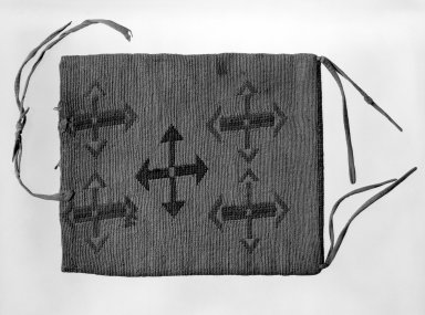 Nez Perce. <em>Twined Rectangular Bag with 'false embroidery'</em>. Indian Hemp, corn husk, wool, hide, 9 5/8 x 8 1/4 in.  (24.5 x 21 cm). Brooklyn Museum, Anonymous gift in memory of Dr. Harlow Brooks, 43.201.110. Creative Commons-BY (Photo: Brooklyn Museum, 43.201.110_view1_bw.jpg)