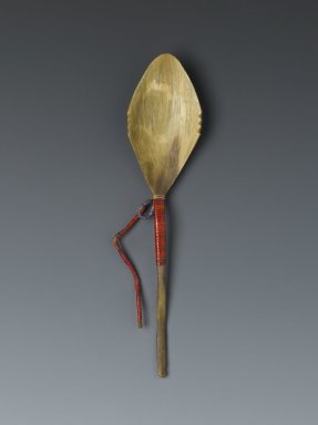 Lakota, Sioux. <em>Quilled Medicine Spoon</em>, late 19th-early 20th century. Horn, porcupine quills, width: 2 1/4 in. (5.7 cm); length: 8 1/2 in. (21.6 cm). Brooklyn Museum, Anonymous gift in memory of Dr. Harlow Brooks, 43.201.151. Creative Commons-BY (Photo: Brooklyn Museum, 43.201.151_PS2.jpg)