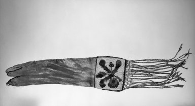 Cree. <em>Pipe Bag</em>. Hide, glass beads, quills Brooklyn Museum, Anonymous gift in memory of Dr. Harlow Brooks, 43.201.15. Creative Commons-BY (Photo: Brooklyn Museum, 43.201.15_bw.jpg)