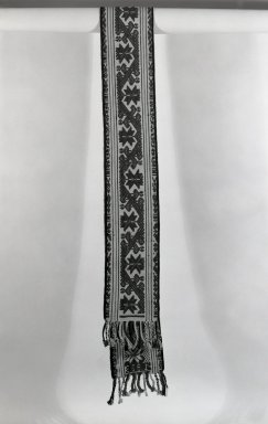 She-we-na (Zuni Pueblo). <em>Embroidered Belt</em>. Wool, cotton, 91 3/4 x 10 5/8 in. (233 x 27 cm). Brooklyn Museum, Anonymous gift in memory of Dr. Harlow Brooks, 43.201.181. Creative Commons-BY (Photo: Brooklyn Museum, 43.201.181_bw.jpg)