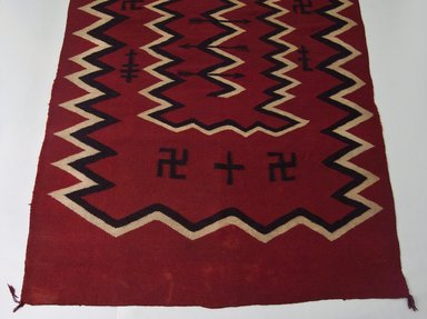 Navajo. <em>Blanket</em>, late 19th century. Wool, dye, 55 x 94 in. (140.0 x 138.0 cm). Brooklyn Museum, Anonymous gift in memory of Dr. Harlow Brooks, 43.201.189. Creative Commons-BY (Photo: Brooklyn Museum, 43.201.189_view1_PS5.jpg)