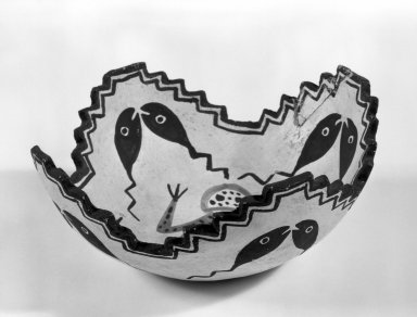 She-we-na (Zuni Pueblo). <em>Sacred Prayer Bowl</em>. Clay, slip, 3 1/8 x 7 1/2 in. (8.0 x 19.0 cm). Brooklyn Museum, Anonymous gift in memory of Dr. Harlow Brooks, 43.201.213. Creative Commons-BY (Photo: Brooklyn Museum, 43.201.213_bw.jpg)