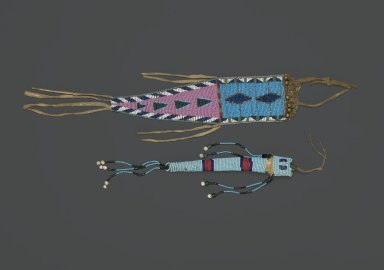 Plains (Northern). <em>Awl Case</em>, early 19th century. Hide, beads, 11 1/4 x 2 3/4 in. (28.6 x 7 cm). Brooklyn Museum, Henry L. Batterman Fund and the Frank Sherman Benson Fund, 50.67.36. Creative Commons-BY (Photo: , 43.201.25_50.67.36_PS1.jpg)