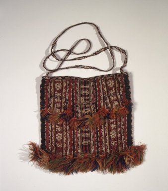 <em>Bag</em>, 1532-1700 or 19th-century. Camelid fiber, 11 x 10 5/8in. (28 x 27cm) (without strap). Brooklyn Museum, Anonymous gift in memory of Dr. Harlow Brooks, 43.201.276. Creative Commons-BY (Photo: Brooklyn Museum, 43.201.276.jpg)