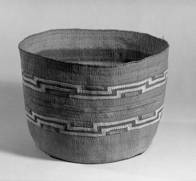 Tlingit. <em>Cylindrical Basket</em>, late 19th-early 20th century. Spruce root, natural dye, 7 1/2 x 10 1/4 in. (19 x 26 cm). Brooklyn Museum, Anonymous gift in memory of Dr. Harlow Brooks, 43.201.286. Creative Commons-BY (Photo: Brooklyn Museum, 43.201.286_acetate_bw.jpg)