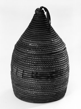 <em>Coiled Basket with Lid</em>. Vegetable fiber, dims. of A: (13.0 x 15.0 cm). Brooklyn Museum, Anonymous gift in memory of Dr. Harlow Brooks, 43.201.302a-b. Creative Commons-BY (Photo: Brooklyn Museum, 43.201.302a-b_bw.jpg)