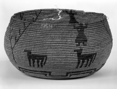 Yokuts. <em>Coiled Basketry Bowl with Figures and Animal Designs</em>. Fiber, 4 3/4 in.  (12.0 cm). Brooklyn Museum, Anonymous gift in memory of Dr. Harlow Brooks, 43.201.305. Creative Commons-BY (Photo: Brooklyn Museum, 43.201.305_bw.jpg)